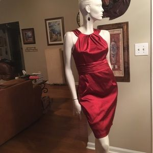 David Meister Red Satin Cocktail Dress